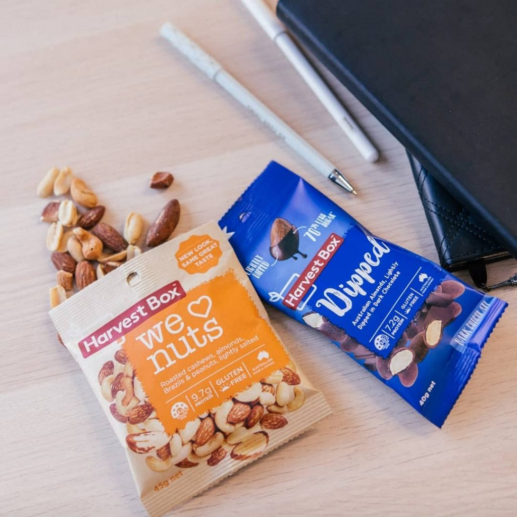 Harvest Box Healthy Snack with nuts and chocolate